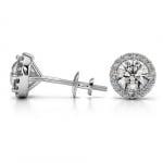 Halo Diamond Earrings in Platinum (1 ctw) | Thumbnail 03