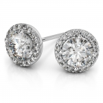 Halo Diamond Earrings in White Gold (1 1/2 ctw) | Thumbnail 01