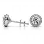 Halo Diamond Earrings in White Gold (1 ctw) | Thumbnail 03