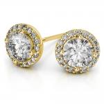 Halo Diamond Earrings in Yellow Gold (1 ctw) | Thumbnail 01
