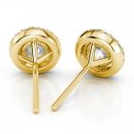 Halo Diamond Earrings in Yellow Gold (1 ctw) | Thumbnail 02
