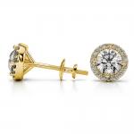 Halo Diamond Earrings in Yellow Gold (1 ctw)   Thumbnail 03