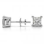 Princess Diamond Stud Earrings in Platinum (1 1/2 ctw) | Thumbnail 03