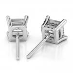 Princess Diamond Stud Earrings in Platinum (1 ctw) | Thumbnail 02