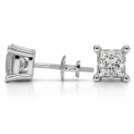 Princess Diamond Stud Earrings in Platinum (4 ctw) | Thumbnail 03
