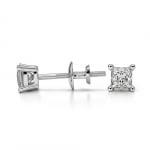 Princess Diamond Stud Earrings in White Gold (1/4 ctw) | Thumbnail 03