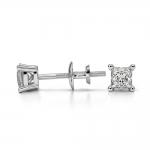 Princess Diamond Stud Earrings in White Gold (1/4 ctw) | Thumbnail 03