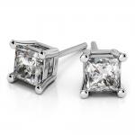 Princess Diamond Stud Earrings in White Gold (4 ctw) | Thumbnail 01
