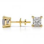 Princess Diamond Stud Earrings in Yellow Gold (1 1/2 ctw) | Thumbnail 03