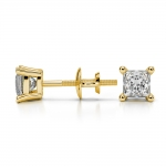 Princess Diamond Stud Earrings in Yellow Gold (1/2 ctw) | Thumbnail 03