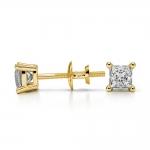 Princess Diamond Stud Earrings in Yellow Gold (1/3 ctw)   Thumbnail 03