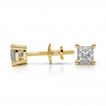 Princess Diamond Stud Earrings in Yellow Gold (1/3 ctw) | Thumbnail 03