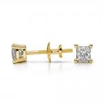 Princess Diamond Stud Earrings in Yellow Gold (1/4 ctw) | Thumbnail 03