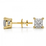 Princess Diamond Stud Earrings in Yellow Gold (1 ctw) | Thumbnail 03