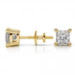 Princess Diamond Stud Earrings in Yellow Gold (1 ctw) | Thumbnail 03