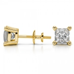 Princess Diamond Stud Earrings in Yellow Gold (2 ctw) | Thumbnail 03