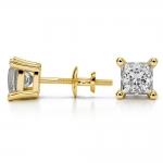 Princess Diamond Stud Earrings in Yellow Gold (2 ctw) | Thumbnail 03