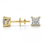 Princess Diamond Stud Earrings in Yellow Gold (3/4 ctw) | Thumbnail 03