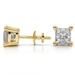 Princess Diamond Stud Earrings in Yellow Gold (3 ctw) | Thumbnail 03