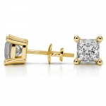 Princess Diamond Stud Earrings in Yellow Gold (4 ctw) | Thumbnail 03