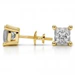 Princess Diamond Stud Earrings in Yellow Gold (4 ctw) | Thumbnail 03