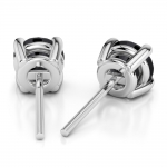 Round Black Diamond Stud Earrings in White Gold (1 ctw) | Thumbnail 02