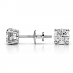 Round Diamond Stud Earrings in White Gold (1 ctw) | Thumbnail 03