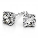 Round Diamond Stud Earrings in White Gold (3 ctw) | Thumbnail 01