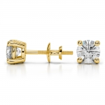 Round Diamond Stud Earrings in Yellow Gold (1 1/2 ctw) | Thumbnail 03