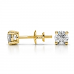 Round Diamond Stud Earrings in Yellow Gold (1/2 ctw) | Thumbnail 03