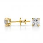 Round Diamond Stud Earrings in Yellow Gold (1/2 ctw) | Thumbnail 03