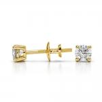 Round Diamond Stud Earrings in Yellow Gold (1/4 ctw) | Thumbnail 03