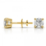 Round Diamond Stud Earrings in Yellow Gold (1 ctw) | Thumbnail 03