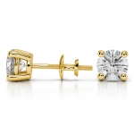 Round Diamond Stud Earrings in Yellow Gold (2 ctw) | Thumbnail 03