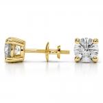Round Diamond Stud Earrings in Yellow Gold (3 ctw) | Thumbnail 03