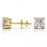 Round Diamond Stud Earrings in Yellow Gold (3 ctw) | Thumbnail 03