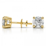 Round Diamond Stud Earrings in Yellow Gold (4 ctw) | Thumbnail 03