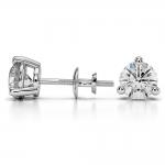 Three Prong Diamond Stud Earrings in Platinum (2 ctw) | Thumbnail 03