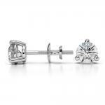 Three Prong Diamond Stud Earrings in Platinum (3/4 ctw) | Thumbnail 03