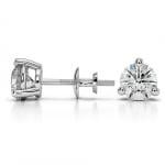 Three Prong Diamond Stud Earrings in White Gold (1 1/2 ctw) | Thumbnail 03