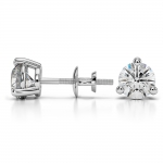 Three Prong Diamond Stud Earrings in White Gold (1 1/2 ctw) | Thumbnail 03