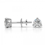 Three Prong Diamond Stud Earrings in White Gold (1/2 ctw) | Thumbnail 03