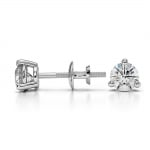 Three Prong Diamond Stud Earrings in White Gold (1/2 ctw) | Thumbnail 03