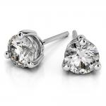 Three Prong Diamond Stud Earrings in White Gold (1/3 ctw) | Thumbnail 01