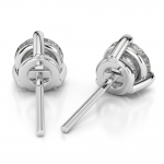 Three Prong Diamond Stud Earrings in White Gold (1 ctw) | Thumbnail 02