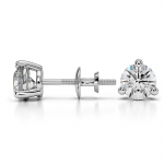 Three Prong Diamond Stud Earrings in White Gold (1 ctw) | Thumbnail 03