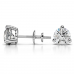 Three Prong Diamond Stud Earrings in White Gold (2 ctw) | Thumbnail 03