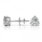 Three Prong Diamond Stud Earrings in White Gold (3/4 ctw) | Thumbnail 03