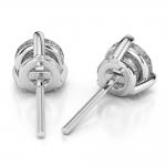 Three Prong Diamond Stud Earrings in White Gold (3 ctw) | Thumbnail 02