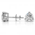 Three Prong Diamond Stud Earrings in White Gold (3 ctw) | Thumbnail 03